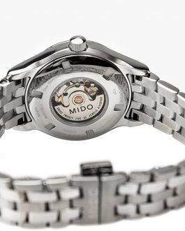 Mido Belluna Reloj automático para mujer con esfera plateada de acero inoxidable