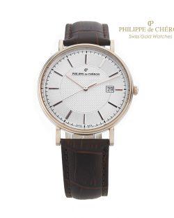 Reloj de Colección para hombre PHILIPPE DE CHERON COMMANDER II Oro 14 K correa marrón