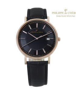 Reloj de Colección para hombre PHILIPPE DE CHERON COMMANDER II Oro 14 K correa negra