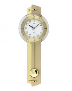Reloj de pared AMS color dorado con péndulo