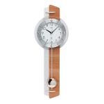 Reloj de pared alemán AMS color plata con acabados en madera