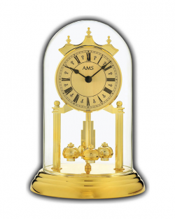 Reloj de mesa AMS con cúpula color oro